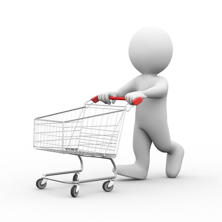 cart: 3d illustration of man pushing empty metal shopping cart trolley.  3d rendering of human people character