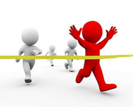 cerillas: 3d ilustración de la cinta de meta de la travesía corredor ganador hombre. Concepto de raza, deporte, competencia, ganando. Representación 3D de carácter humano de personas