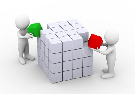 cubo: 3d ilustración de personas colocando cubo para completar la estructura de diseño de la caja. Representación 3D de carácter hombre gente humano