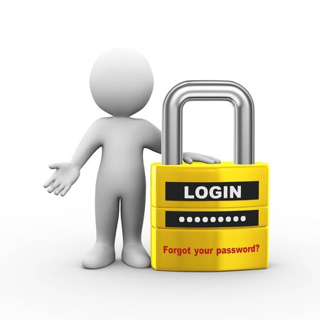 passwords: 3d illustration of man and locked padlock with login and password info. 3d rendering of human people character