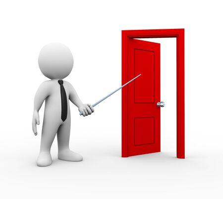 marioneta de madera: 3d ilustración de la persona de negocios que apunta a abrir la puerta. Representación 3D de carácter hombre gente humano