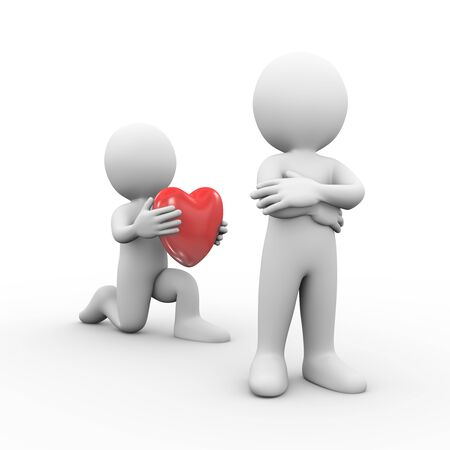 resent: 3d illustration of man on knee giving heart to his resent and anger friend.  3d rendering of human people character.