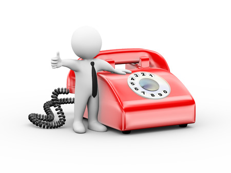 3d illustration of man standing with  rotary telephone showing thumb up.  3d rendering of human people character Stock Photo