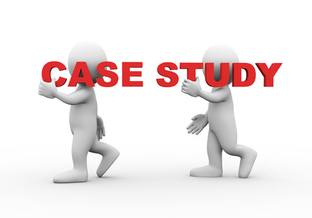business case: 3d illustration of walking people carrying word text case study on their shoulder.  3d rendering of man people character