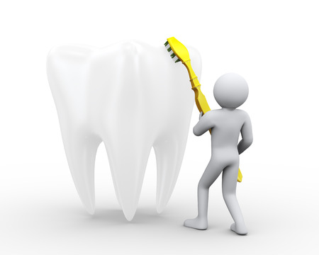 dental hygienist: 3d illustration of man cleaning and brushing a large white shiny tooth with toothbrush. 3d rendering of human people character