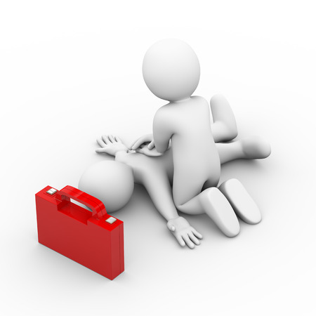 Illustrazione 3D di uomo con cassetta di pronto soccorso fornendo boccata di ossigeno artificiale con le mani. Rendering 3D di carattere persone umane. Archivio Fotografico - 44061832