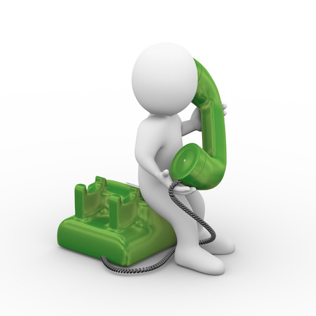 dialplate: 3d illustration of man holding and receiving rotary telephone call.  3d rendering of human people character