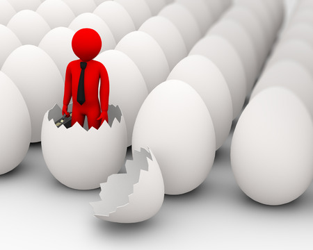 cracked: 3d illustration of birth of businessman and rows of eggs. 3d rendering of human character businessman