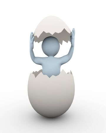 3d illustration of man inside broken cracked egg. 3d rendering of human character businessman