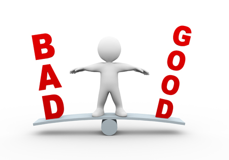 good judgment: 3d illustration of man on see saw balance scale with word text good bad.  3d rendering of human people character