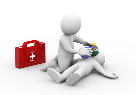 first aid box: 3d illustration of man with first aid box providing casualty with oxygen. 3d rendering of human people character Stock Photo