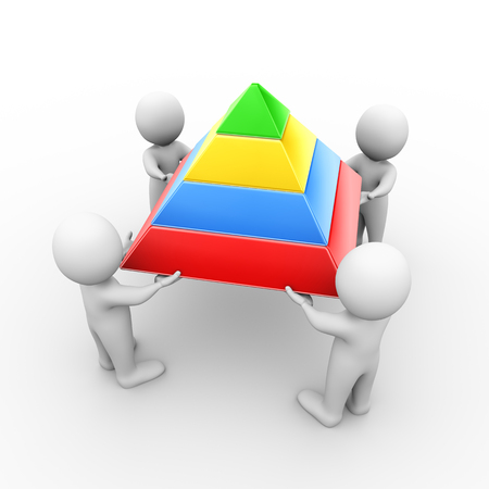 challenges: 3d illustration of people holding layer pyramid. 3d rendering of human people character