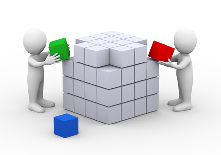3d illustration of people working together to complete box cube design structure.  3d rendering of man human people character Standard-Bild