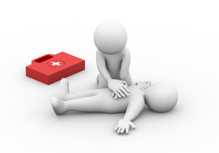emergency: 3d illustration of man with first aid box providing artificial oxygen breath with hands pumping pressure. 3d rendering of human people character