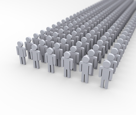 army: 3d illustration of army of people.  3d rendering of human man people character