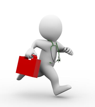 3D-afbeelding van de arts met de eerste doos en stethoscoop hulp lopen voor redding en hulp. 3D-weergave van de menselijke mensen karakter Stockfoto