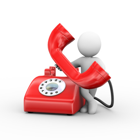 3d illustration of man receiving rotary telephone.  3d rendering of human people character