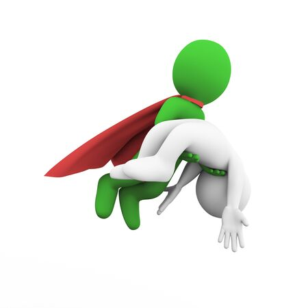 casualty: 3d illustration of flying brave super hero with red cloak rescuing casualty injured man . 3d rendering of white man person people character