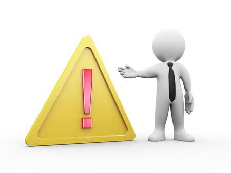 advertencia: 3d ilustración del hombre con amarillo triángulo de advertencia símbolo de signo de exclamación rojo. Las 3D de las personas humanas carácter.