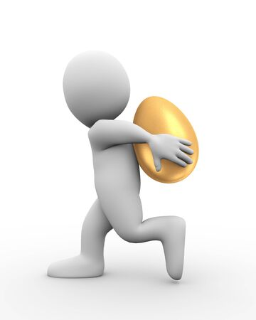 golden egg: 3d illustration of man carrying large shiny golden egg on his back.  3d rendering of human people character