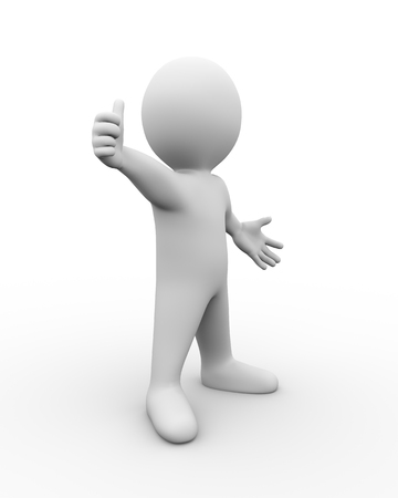 thumb up: 3d illustration of man showing positive thumb up.  3d rendering of human people character. Stock Photo