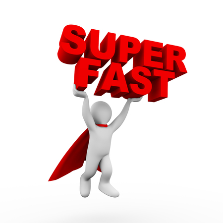 super man: 3d illustration of flying brave superman super hero with red cloak carrying word text super fast. 3d rendering of white man person people character