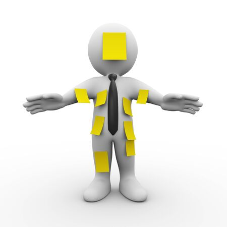 many: 3d illustration of man covered with many yellow sticky notes.  3d rendering of human people character