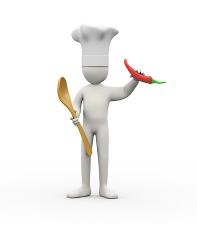 chilli pepper: 3d illustration of  man holding spoon and red pepper chilli. 3d rendering of human people character. Stock Photo