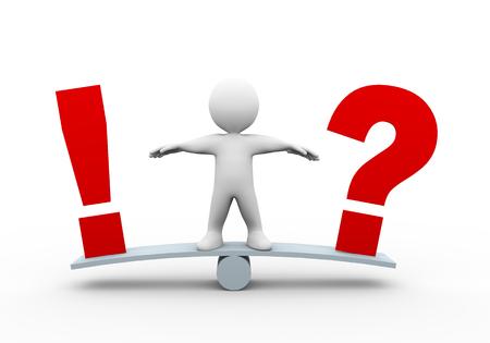 参照してください男の 3 d イラストレーションはバランス スケール質問のマークを見て、感嘆符します。 人間の人々 の文字の 3 d レンダリング