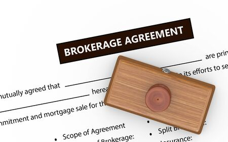 brokerage: 3d illustration of rubber stamp on brokerage agreement document