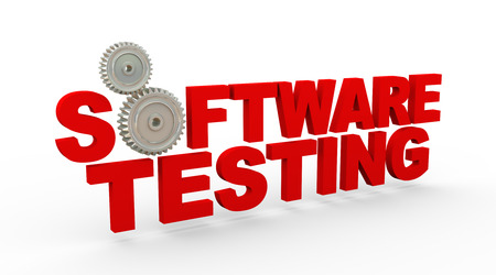productivity system: 3d rendering of metal cogwheel gears and text beta software testing Stock Photo