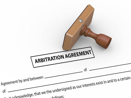 arbitration: 3d illustration of rubber stamp on arbitration agreement document