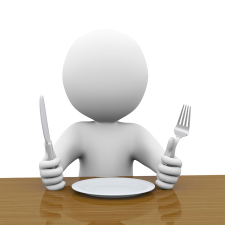 comidas: Ilustración 3d de hombre con cuchillo y tenedor a la espera de comida. renderizado en 3D del carácter humano de personas Foto de archivo