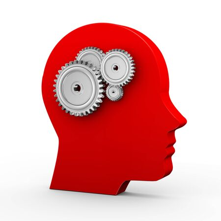 brain storming: 3d illustration of metal cogwheel gears and human head. Concept of brain storming Stock Photo