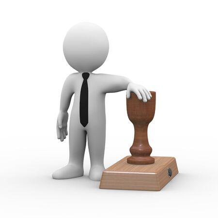 sello: representación 3D de hombre de pie con el sello de goma. 3d blanco hombre, persona, gente