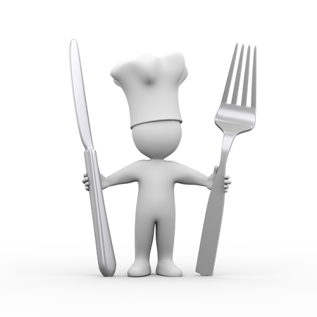 cutleries: 3d illustration of cook man holding fork and knife.  3d rendering of human people character. Stock Photo