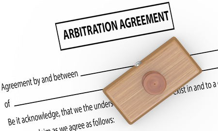 arbitration: 3d illustration of rubber stamp on arbitration agreement
