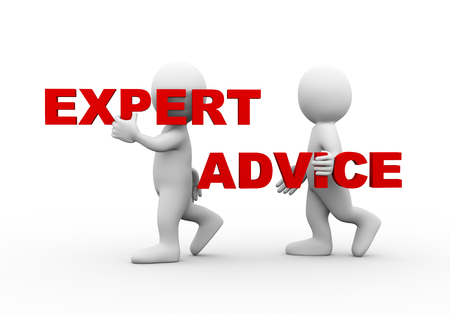 expertise: 3d illustration of walking people carrying word text expert advice on their shoulder.  3d rendering of man people character Stock Photo