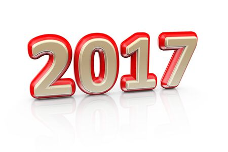 next year: 3d illustration of golden happy new year 2017 text Stock Photo