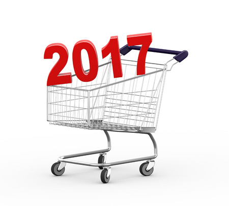 mart: 3d illustration of year 2017 metal shopping cart trolley. Stock Photo
