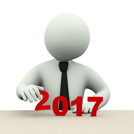 next year: 3d illustration of business person placing year 2017.  3d rendering of human people character Stock Photo