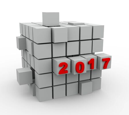 new construction: 3d Illustration of abstract cube design of year 2017 Stock Photo