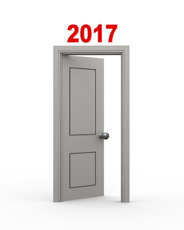 end of the days: 3d illustration of new year 2017 door