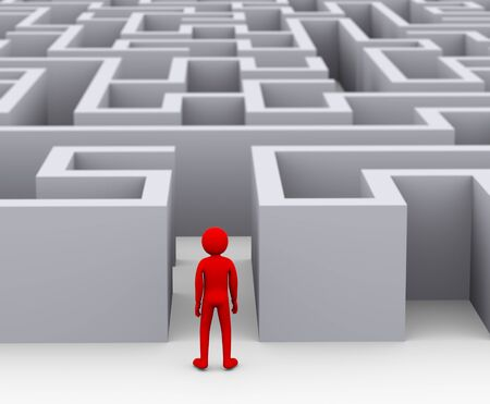 the entering: 3d illustration of red man entering complicated endless puzzle maze.