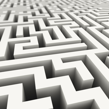routes: 3d illustration of complicated endless maze Stock Photo