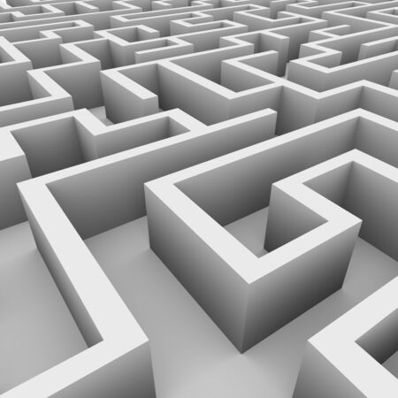 endless: 3d illustration of perspective view of complicated endless maze