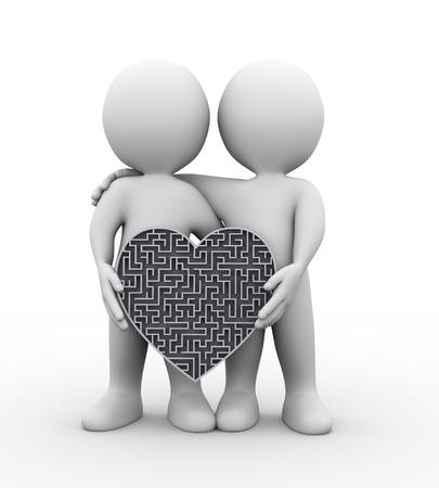 puzzle heart: 3d illustration of friends couple holding heart shape complicated puzzle labyrinth maze design.
