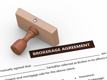 brokers: 3d illustration of rubber stamp on brokerage agreement