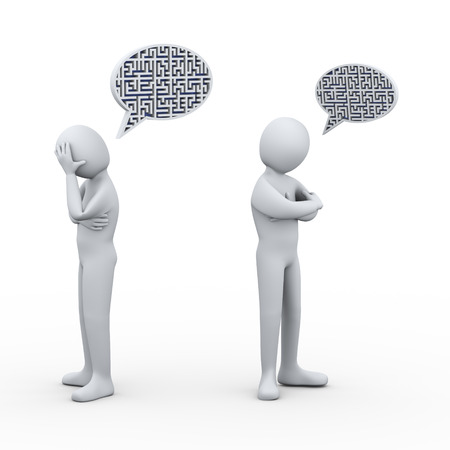bubble people: 3d illustration of puzzle maze bubble speech and man having conflict and dispute with another person. 3d rendering of people - human character