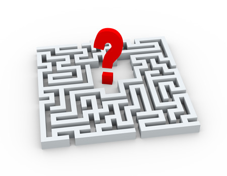 questionable: 3d illustration of question mark sign symbol in complicated maze